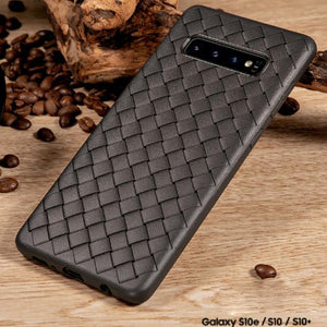 Premium Weaving Grid Breathable Soft Silicone Back Case Cover for Samsung Galaxy S10 Plus