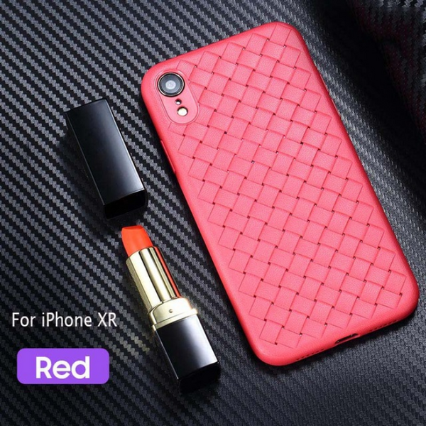 Premium Weaving Grid Breathable Soft Silicone Back Case Cover for Apple iPhone XR