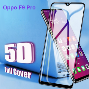 Premium Henks 5D Pro Full Glue Curved Edge Anti Shatter Tempered Glass Screen Protector for Oppo F9 Pro