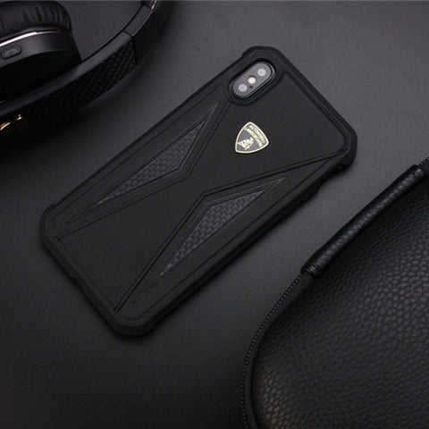 Luxury Automobili Lamborghini Genuine Leather & carbon Fiber Back Case Cover for Apple iPhone X / XS - BLACK