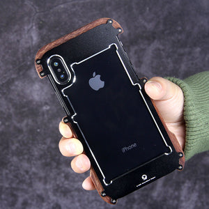 Luxury Aluminum Metal Frame Protection Wooden Bumper Case for Apple iPhone X