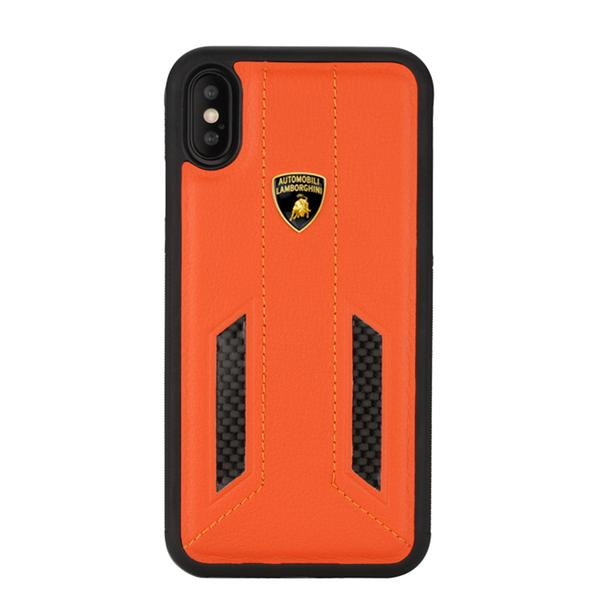 Official Automobili Lamborghini Genuine Leather & Carbon Fiber Back Case Cover for Apple iPhone X / XS