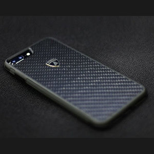 Official Lamborghini Shockproof Genuine Carbon Fiber Protection Back Case Cover for Apple iPhone 7 Plus - BLACK