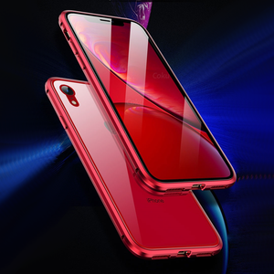 Luxury Dual Glass [ Front Glass + Back Glass ] Auto Fit Magnetic Case for Apple iPhone XR