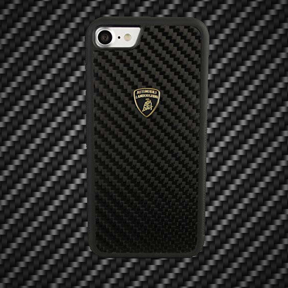 Official Lamborghini Shockproof Genuine Carbon Fiber Protection Back Case Cover for Apple iPhone 8 - BLACK