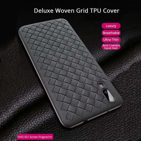 Premium Weaving Grid Breathable Soft Silicone Back Case Cover for Vivo X21