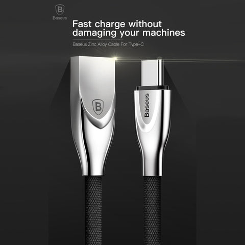 Baseus Zinc Alloy Connector Flat Braided Type C Fast Charging Cable Data Cord for Samsung, OnePlus, Motorola, Xiaomi