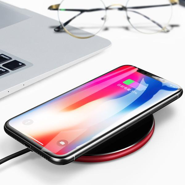Luxury Ultra Slim Qi Standard [10W] Fast Wireless Charger Quick Charging Pad for iPhone X 8 Plus Samsung S8 S9 Plus S7 Edge