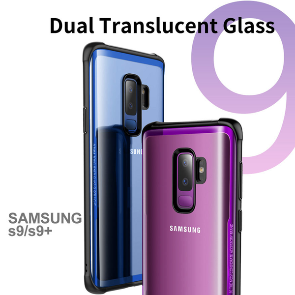 Luxury 9H Hardness Clear Tempered Glass Back Case Cover with Soft TPU Edges for Samsung Galaxy S9 Plus