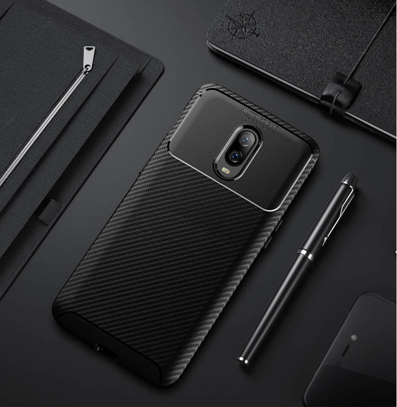 Luxury Shockproof Hybrid Armor Soft Silicone Carbon Fiber Case for OnePlus 6T