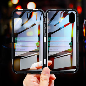 Luxury Front Glass + Back Glass Magnetic Adsorption Metal Bumper Frame Case for Apple iPhone XS