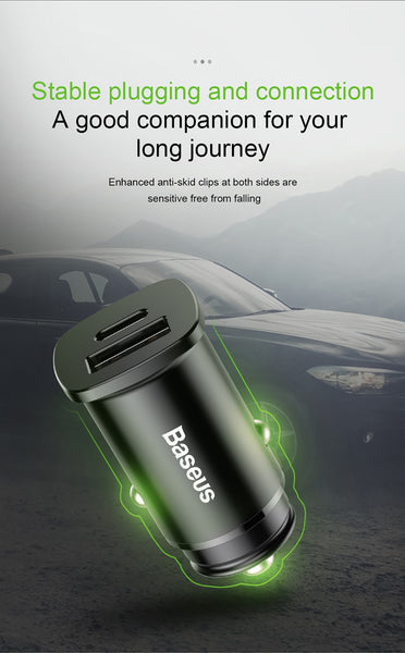 Baseus Quick Charge 4.0 30W Dual USB PD Type C Fast Charging Car Phone Charger For iPhone Samsung Xiaomi