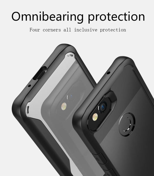 Premium Heavy Duty Drop Protection Transparent Hybrid Armor Bumper Back Case for Google Pixel 2 - BLACK