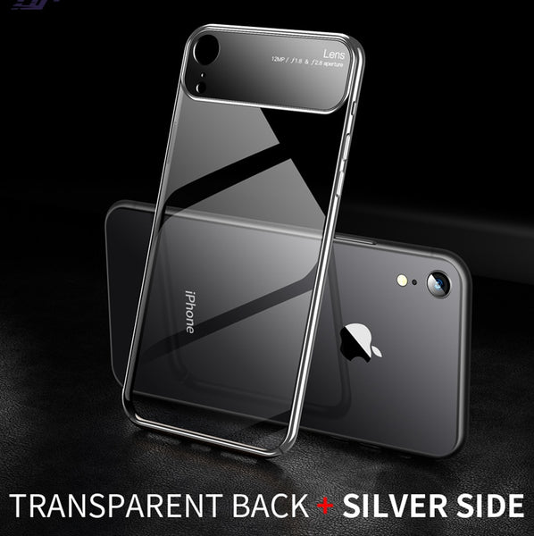 Luxury Ultra Thin Clear Hard PC Back with Electroplating Edges Back Case for Apple iPhone XR