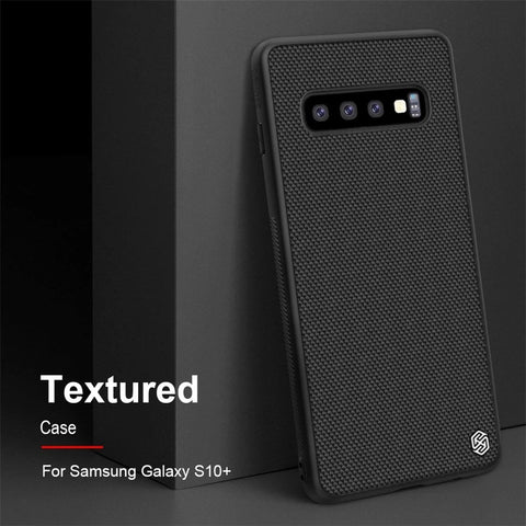 Luxury Nylon Knitted Finish Back Case with Soft TPU Armour Frame for Samsung Galaxy S10 - BLACK