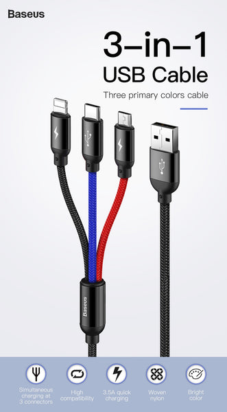 Baseus Colorful 3in1 3.5A High Speed Data Sync & Charging Cable for Type C, iPhone & Micro USB Smartphones