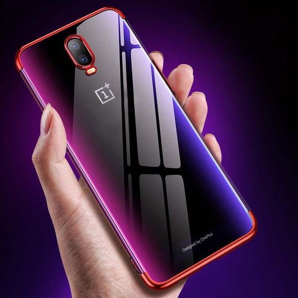 Premium Soft Silicon Shiny Electroplating Clear HD Transparent Back Case Cover for OnePlus 6T