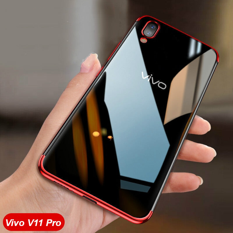 new style cf0c4 4aa13 Luxury Laser Plating Utra Thin Transparent Hard Back Case for Vivo V11 Pro