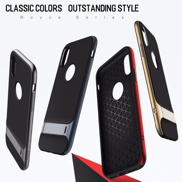Premium Anti Knock 3D Kickstand TPU+PC Holder Stand Back Case Cover for Apple iPhone XS