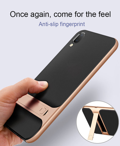 Luxury Eureka Series Hybrid PC Kickstand Bumper Frame with Soft Silicone Back Case for Vivo V11 Pro - BLACK