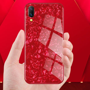 Luxury Smooth Anti Shatter Marble Pattern Tempered Glass Hard Back Case for Vivo V11 Pro
