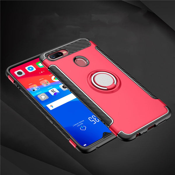 Luxury Carbon Fiber Design Shockproof Hybrid Ring Holder Back Case for Oppo F9 Pro