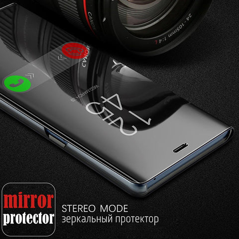 Premium Clear View Mirror Plating Smart Flip Cover Stand Case for Samsung Galaxy A7