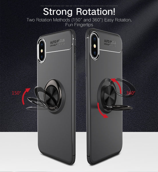 Premium Finger Ring Magnetic Bracket Holder Soft Virgin Silicone Infused Back Case for Apple iPhone XS Max
