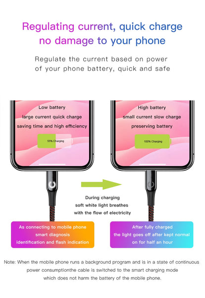 Baseus LED Lighting Auto Disconnect 2.4A Fast Charging Lightning Cable Cable Data Cord for iPhone XS Max XR X 8 7 6 6S Plus SE