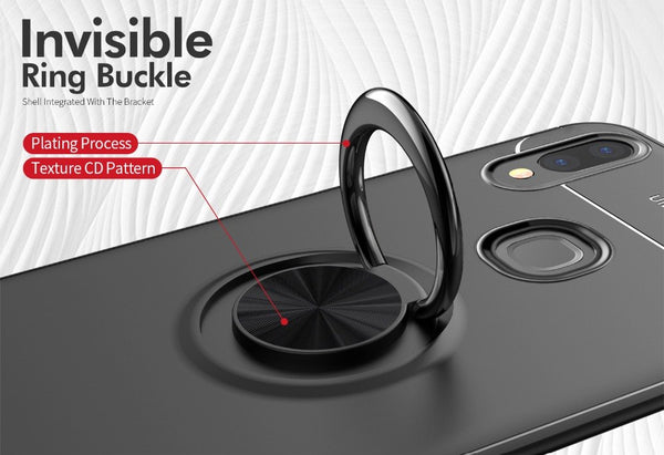 Premium Finger Ring Magnetic Bracket Holder Soft Silicone TPU Case Back Cover for Vivo V9