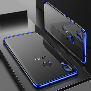 Premium Soft Silicon Shiny Electroplating Clear HD Transparent Back Case Cover for Vivo V9