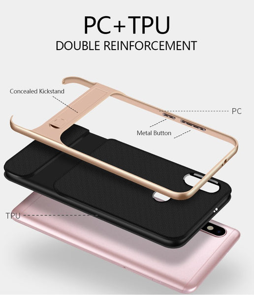 Luxury Hybrid PC Kickstand Bumper Frame with Soft Silicone Back Case For Redmi Note 6 Pro