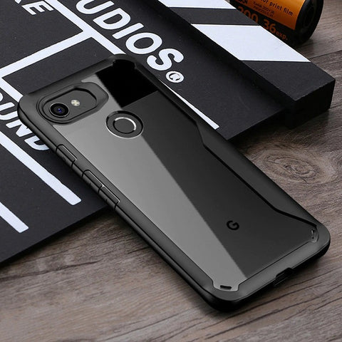 Premium Heavy Duty Drop Protection Transparent Hybrid Eagle Series Armor Bumper Back Case for Google Pixel 2 XL - BLACK