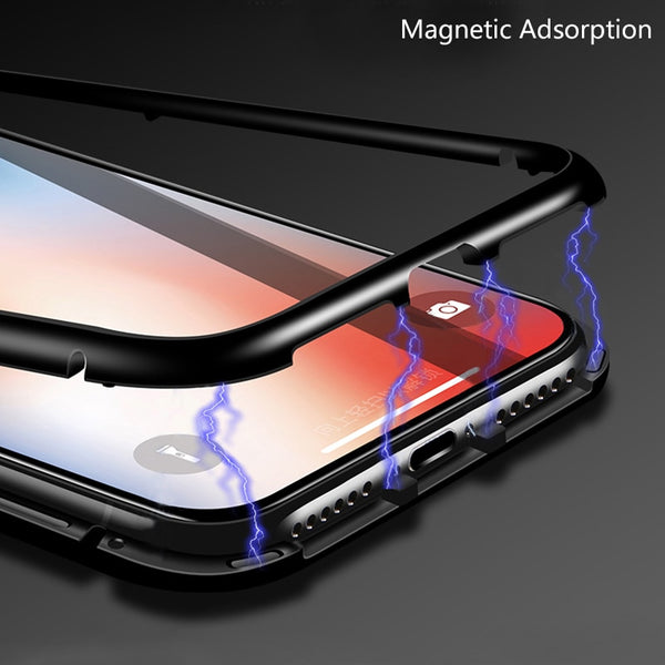 Luxury Magnetic Adsorption Metal Bumper Auto-Fit Tempered Back Case for Vivo V9