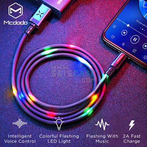 MCDODO X Sereis Smart LED Lighting Music Fast Charging Data Cable For Apple iPhone X, 8/8 Plus, 7/7 Plus, 6/6S/6 Plus, 5/5S/5C/SE
