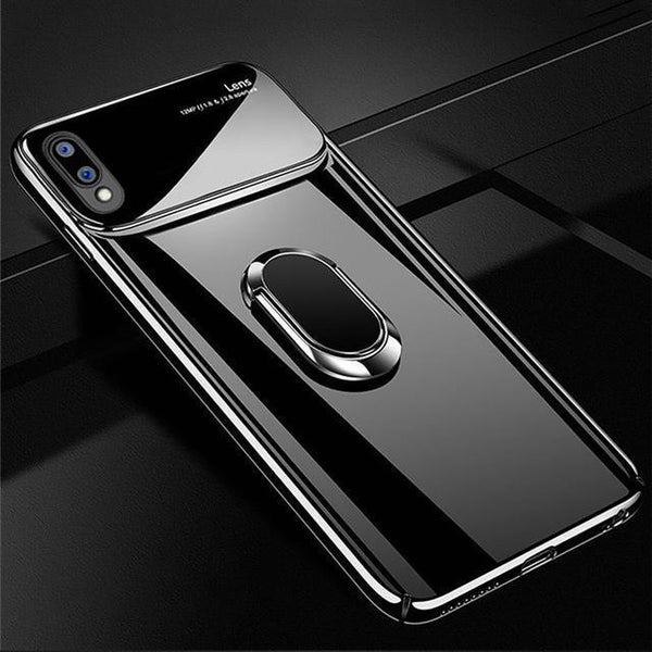 Luxury Smooth Mirror Effect Ring Holder Hard PC Back Case Cover for Vivo V9