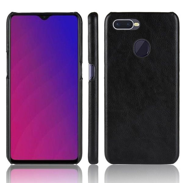 Luxury Leather Finish Anti Knock Hard PC Back Case Cover with Back Screen Guard for Oppo F9 Pro