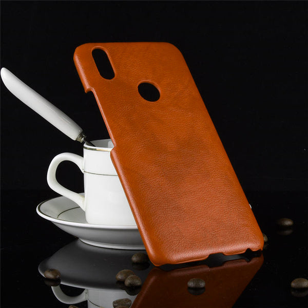 Luxury Leather Finish Anti Knock Hard PC Back Case Cover With Back Screen Guard for Vivo V9