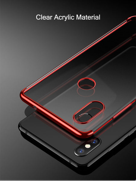 Luxury Electroplating Utra Thin Transparent Soft Virgin Silicone Back Case for Xiaomi Redmi Note 6 Pro