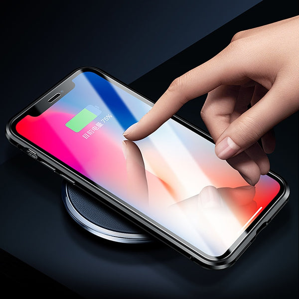 Luxury Front Glass + Back Glass Magnetic Adsorption Metal Bumper Frame Case for Apple iPhone XS Max