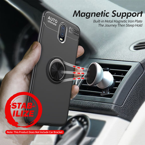 Premium Anti Drop Finger Ring Holder Soft Silicone TPU Case Kickstand Back Cover for OnePlus 6T