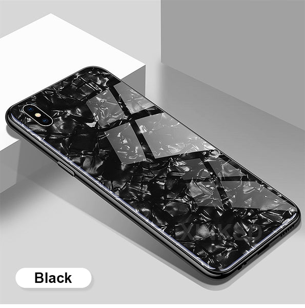 Luxury Explosion Proof Marble Pattern Tempered Glass Hard Back Case Cover for Apple iPhone X