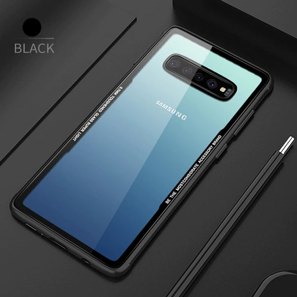 Luxury 9H Hardness Transparent Glass Back Case With Soft TPU Bumper Frame For Samsung Galaxy S10 Plus