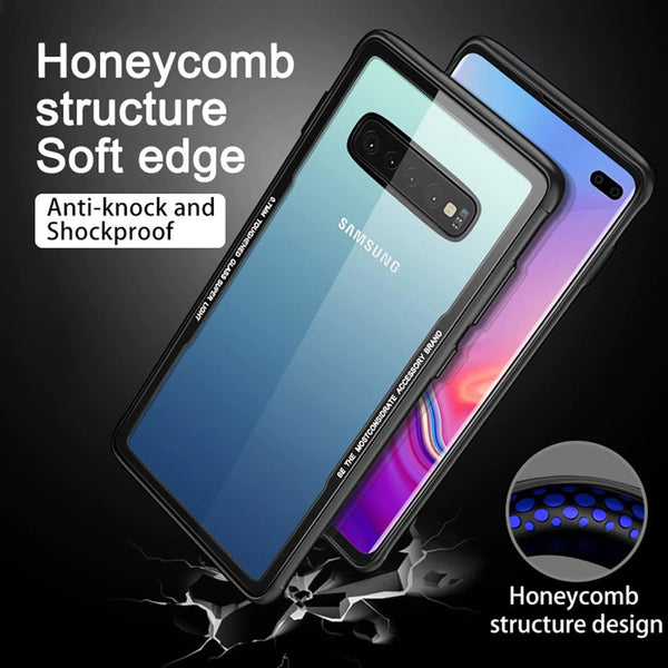 Luxury 9H Hardness Transparent Glass Back Case With Soft TPU Bumper Frame For Samsung Galaxy S10