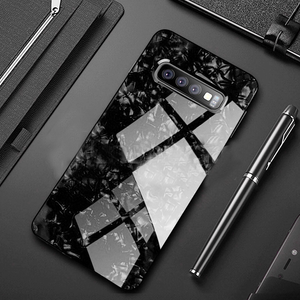 Luxury Explosion Proof Marble Pattern Tempered Glass Hard Back Case for Samsung Galaxy S10 Plus