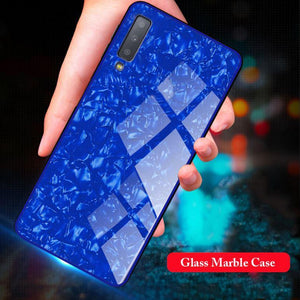 Luxury Explosion Proof Marble Pattern Tempered Glass Hard Back Case for Samsung Galaxy A50