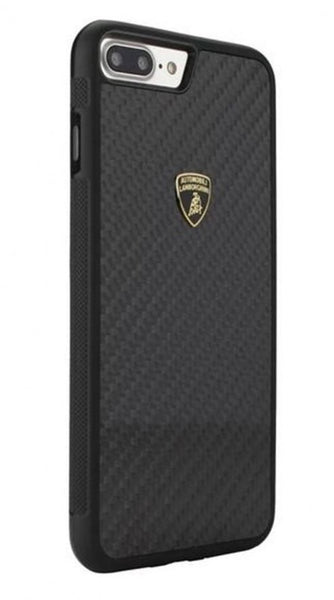 Official Lamborghini Shockproof Genuine Carbon Fiber Protection Back Case Cover for Apple iPhone 8 Plus - BLACK