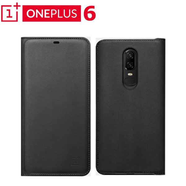 Luxury PU Leather Wallet Smart Auto Sleep Wake Up Sensor Flip Case Cover for OnePlus 6 / One Plus 6 / 1+6 - Black