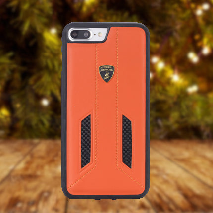 Official Automobili Lamborghini Genuine Leather & Carbon Fiber Back Case Cover for Apple iPhone 8 Plus