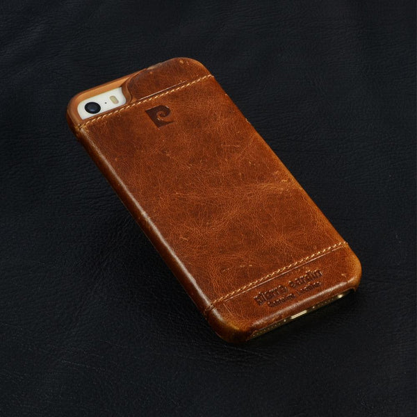 Genuine Pierre Cardin Stitched Leather Anti Knock Hard Back Case Cover for Apple iPhone 8